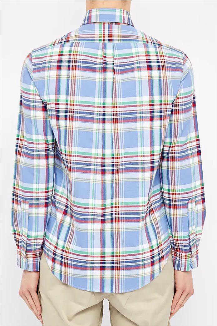 Polo Ralph Lauren ανδρικό καρό πουκάμισο με κεντημένο logo Γαλάζιο 2