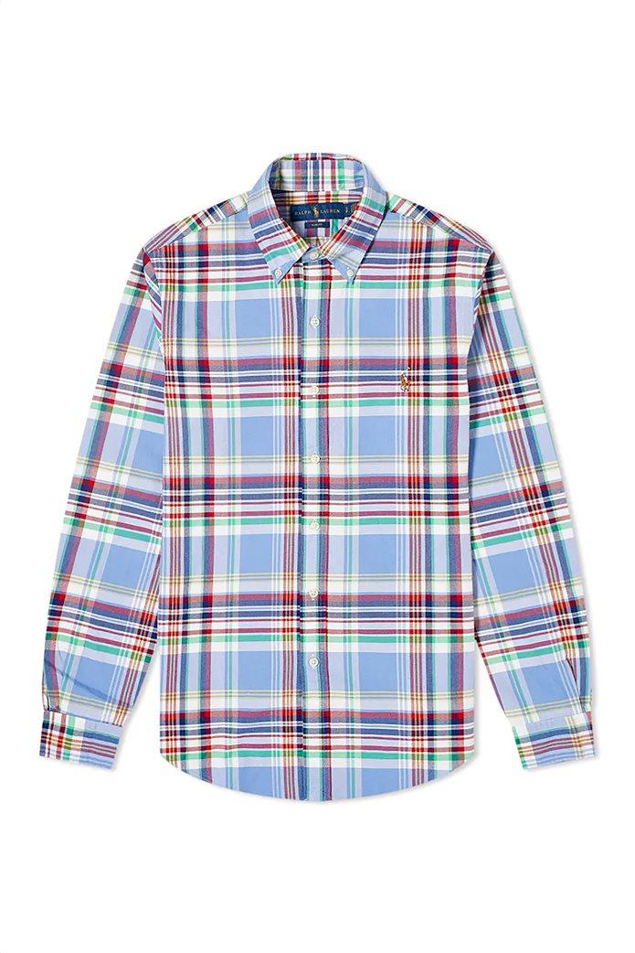 Polo Ralph Lauren ανδρικό καρό πουκάμισο με κεντημένο logo Γαλάζιο 3