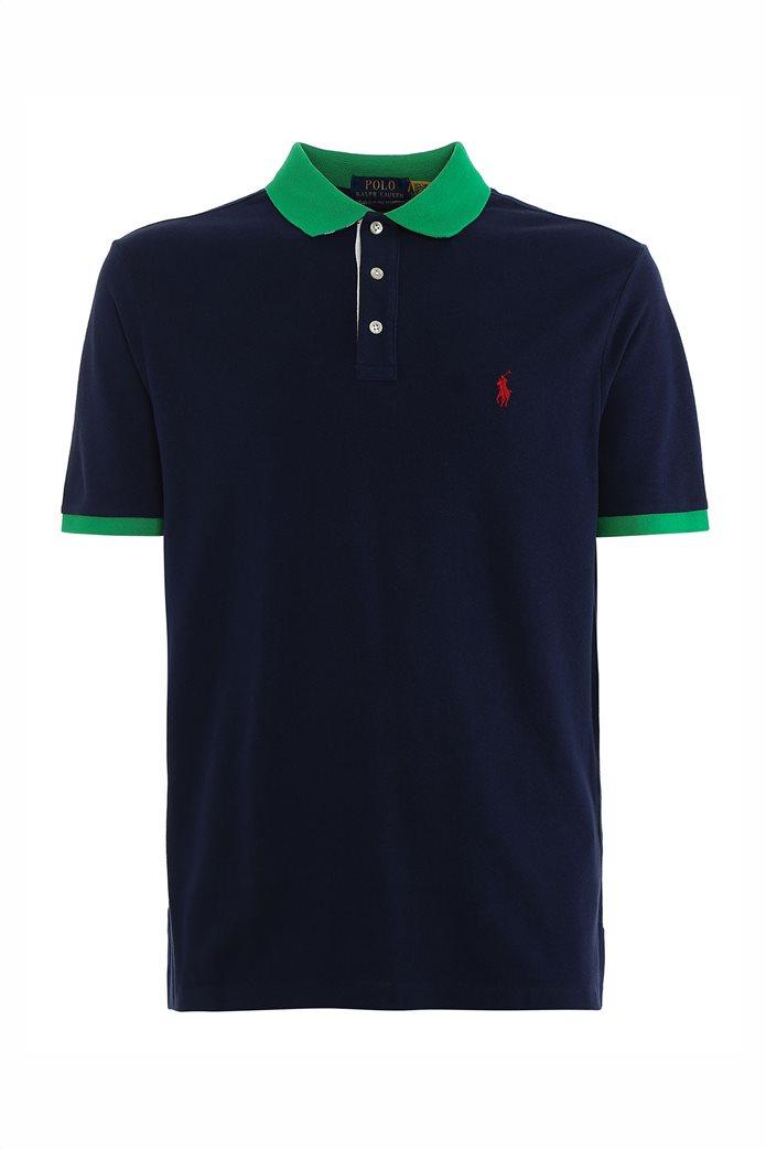 Polo Ralph Lauren ανδρική πόλο μπλούζα πικέ με λεπτομέρειες σε αντίθεση Μπλε Σκούρο 0