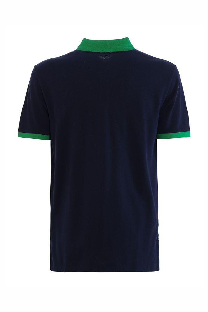 Polo Ralph Lauren ανδρική πόλο μπλούζα πικέ με λεπτομέρειες σε αντίθεση Μπλε Σκούρο 1
