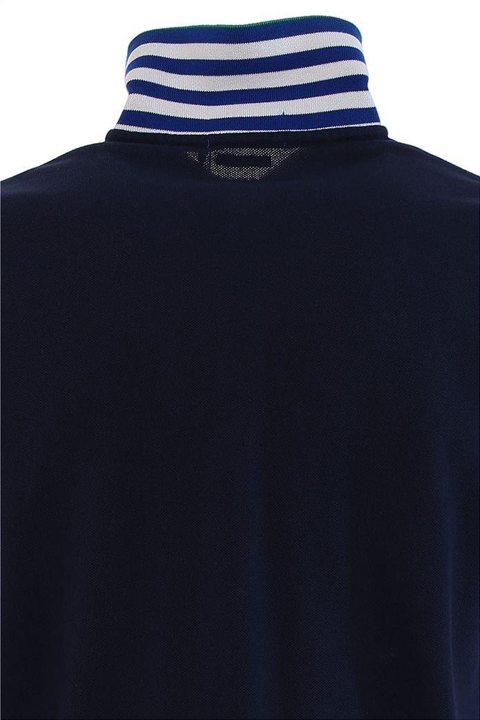 Polo Ralph Lauren ανδρική πόλο μπλούζα πικέ με λεπτομέρειες σε αντίθεση Μπλε Σκούρο 2