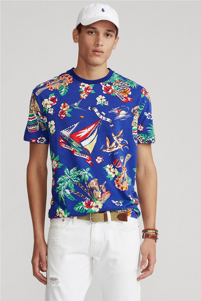 Polo Ralph Lauren ανδρικό T-shirt με all-over print ''Custom Slim Fit'' Μπλε Ηλεκτρίκ 0