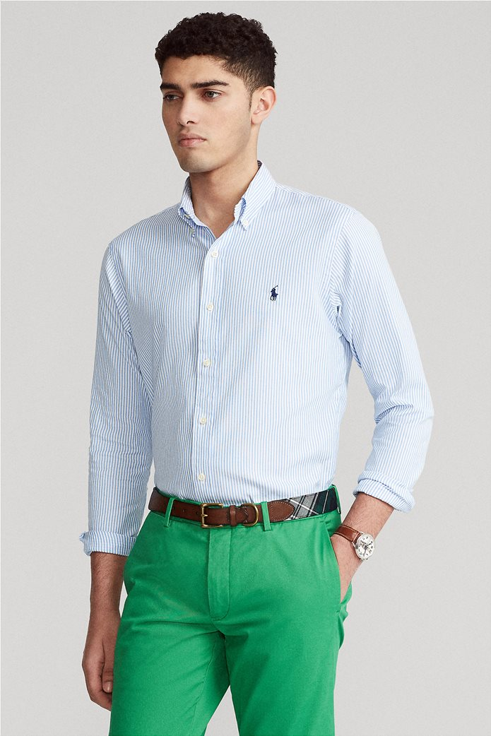 "Polo Ralph Lauren ανδρικό πουκάμισο ριγέ με κεντημένο logo ""Custom Fit Striped Stretch Oxford"" Γαλάζιο 0"