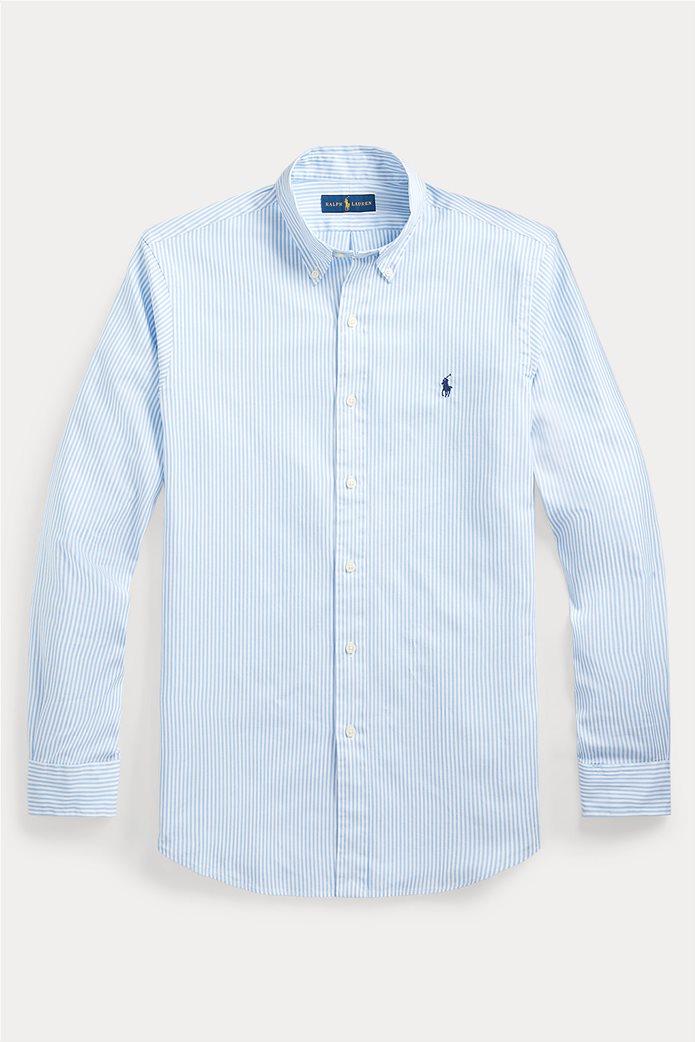 "Polo Ralph Lauren ανδρικό πουκάμισο ριγέ με κεντημένο logo ""Custom Fit Striped Stretch Oxford"" Γαλάζιο 1"