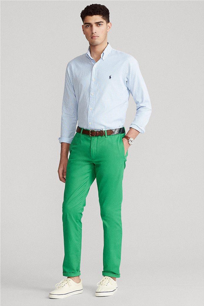 "Polo Ralph Lauren ανδρικό πουκάμισο ριγέ με κεντημένο logo ""Custom Fit Striped Stretch Oxford"" Γαλάζιο 2"