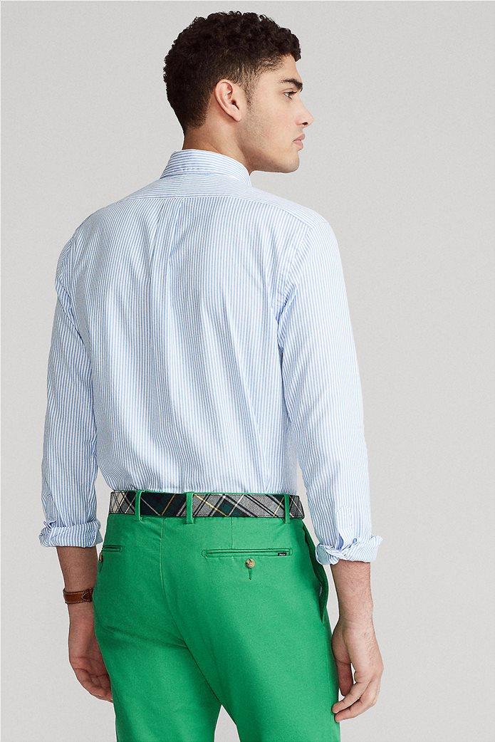 "Polo Ralph Lauren ανδρικό πουκάμισο ριγέ με κεντημένο logo ""Custom Fit Striped Stretch Oxford"" Γαλάζιο 3"