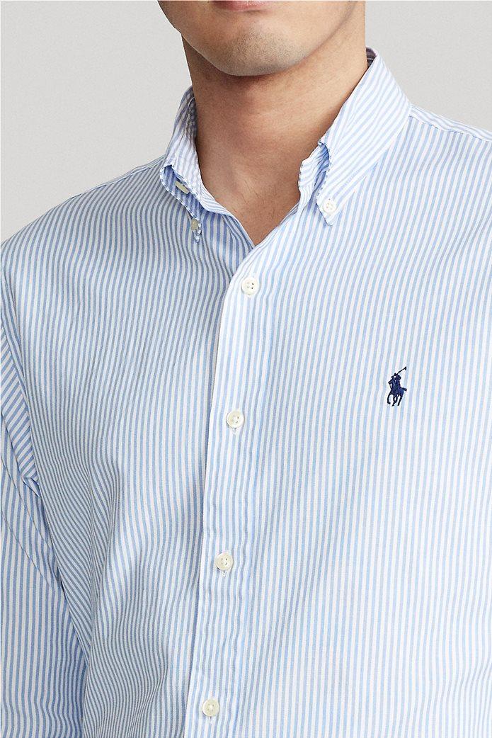 "Polo Ralph Lauren ανδρικό πουκάμισο ριγέ με κεντημένο logo ""Custom Fit Striped Stretch Oxford"" Γαλάζιο 4"