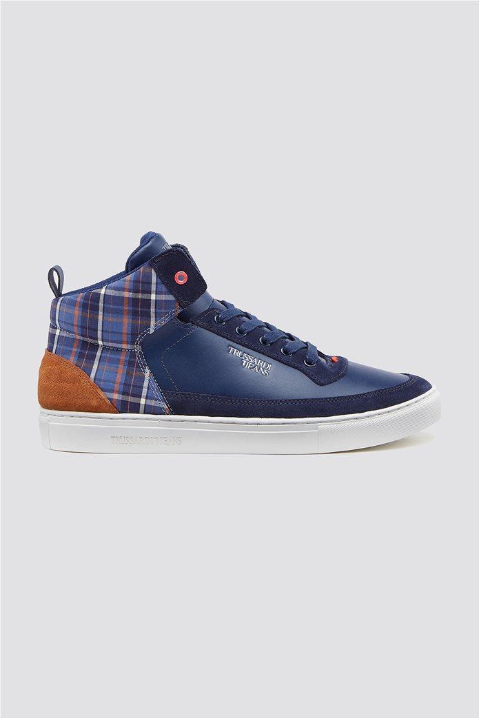 Trussardi Jeans ανδρικά μποτάκια sneakers με καρό λεπτομέρεια 0
