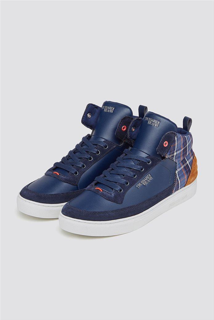 Trussardi Jeans ανδρικά μποτάκια sneakers με καρό λεπτομέρεια 1