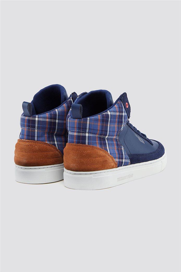 Trussardi Jeans ανδρικά μποτάκια sneakers με καρό λεπτομέρεια 2