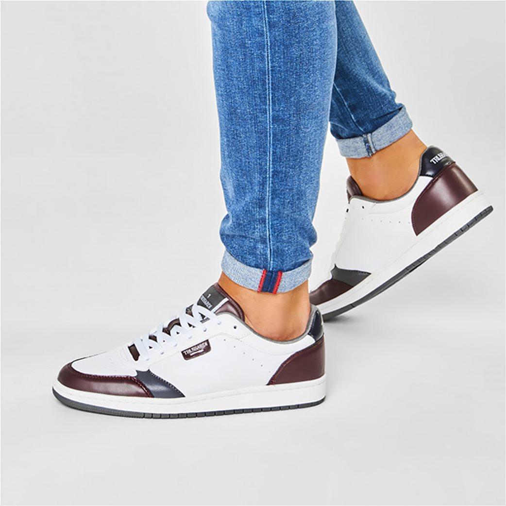 Trussardi Jeans ανδρικά sneakers με διάτρητες λεπτομέρειες Μπορντό 1