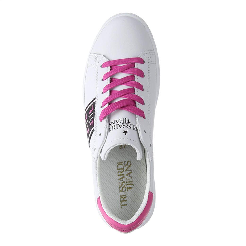 Trussardi Jeans γυναικεία sneakers με υφασμάτινη φάσα στο πλάι Φούξια 4