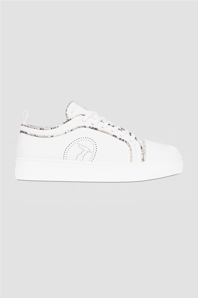 Trussardi γυναικεία sneakers με διάτρητο logo και μεταλλιζέ λεπτομέρειες Μπεζ 0