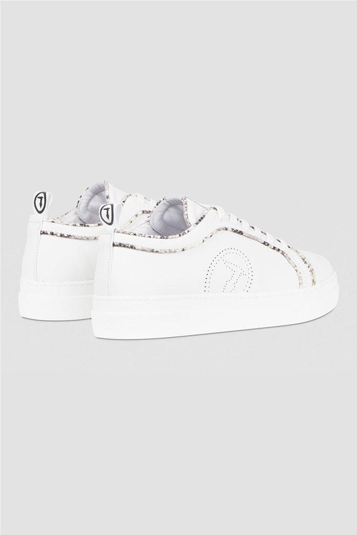 Trussardi γυναικεία sneakers με διάτρητο logo και μεταλλιζέ λεπτομέρειες Μπεζ 1