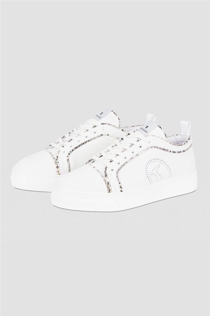 Trussardi γυναικεία sneakers με διάτρητο logo και μεταλλιζέ λεπτομέρειες Μπεζ 2