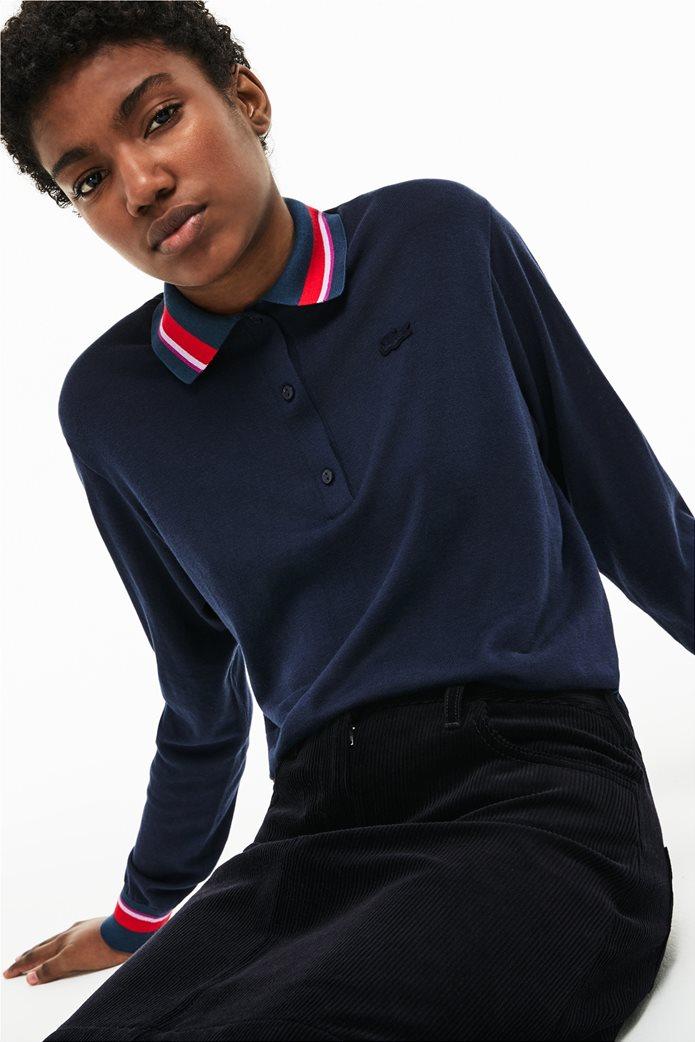 Lacoste γυναικεία μπλούζα Polo με σίριτι στον γιακά 0