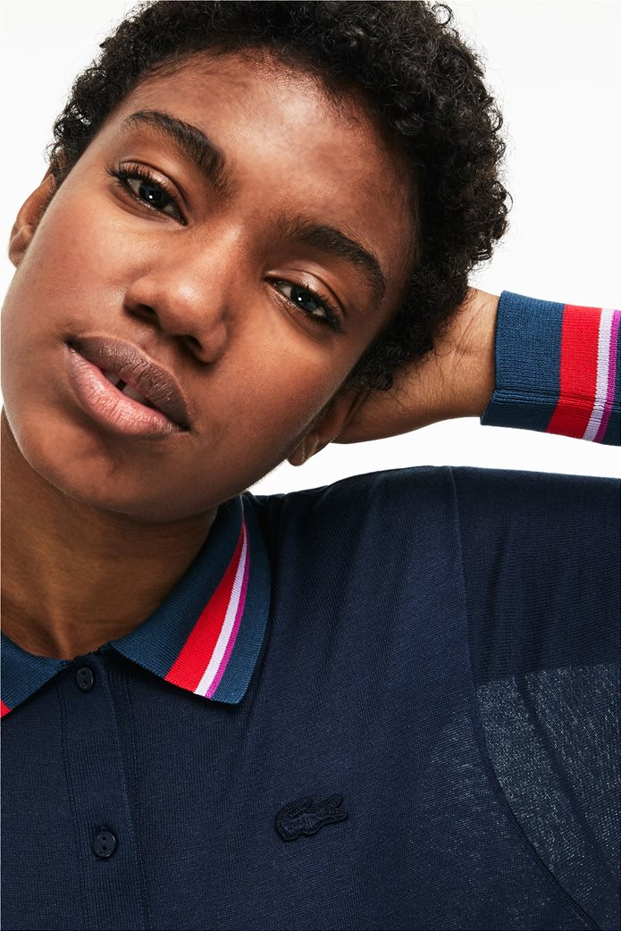 Lacoste γυναικεία μπλούζα Polo με σίριτι στον γιακά 2