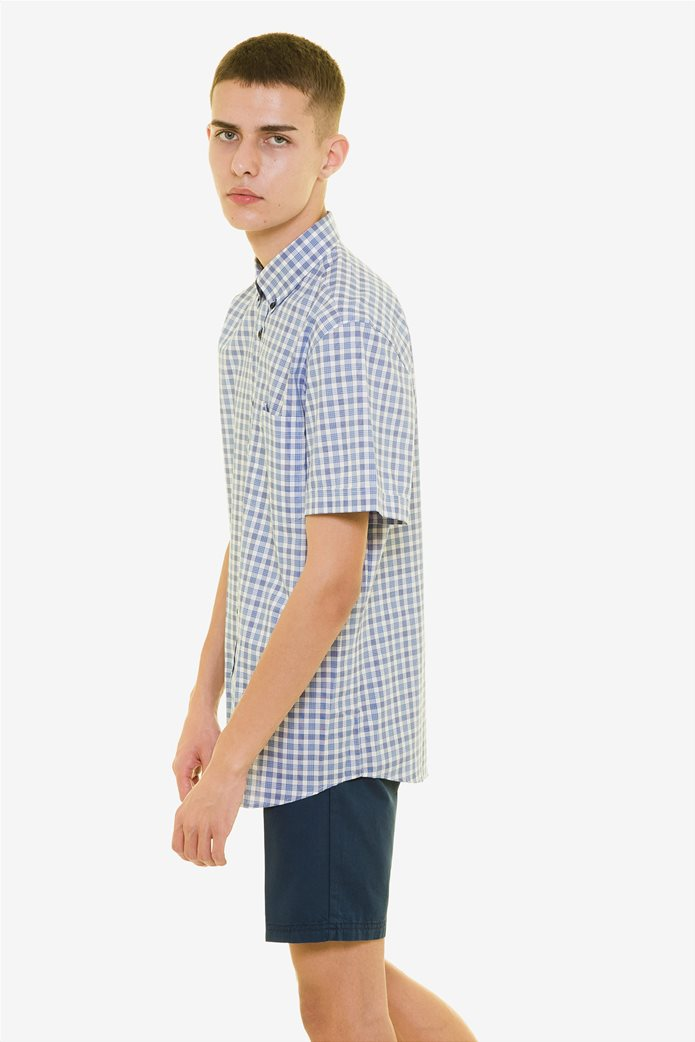 The Bostonians ανδρικό καρό πουκάμισο κοντομάνικο με button down γιακά 0