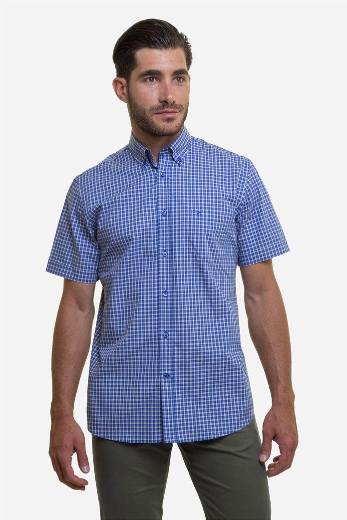The Bostonians ανδρικό πουκάμισο καρό με κεντημένο logo και κοντό μανίκι Μπλε 0