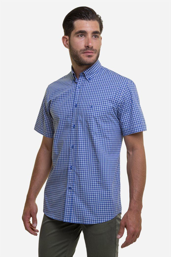 The Bostonians ανδρικό πουκάμισο καρό με κεντημένο logo και κοντό μανίκι Μπλε 1