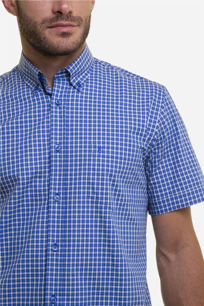The Bostonians ανδρικό πουκάμισο καρό με κεντημένο logo και κοντό μανίκι Μπλε 3