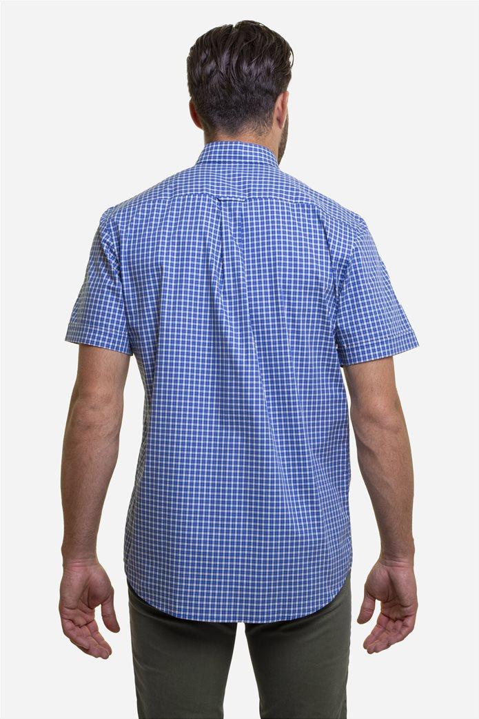 The Bostonians ανδρικό πουκάμισο καρό με κεντημένο logo και κοντό μανίκι Μπλε 4