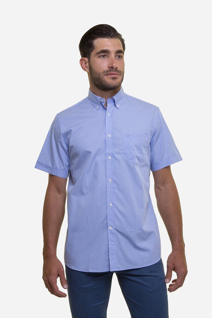The Bostonians ανδρικό κοντομάνικο πουκάμισο με καρό μικροσχέδιο 0
