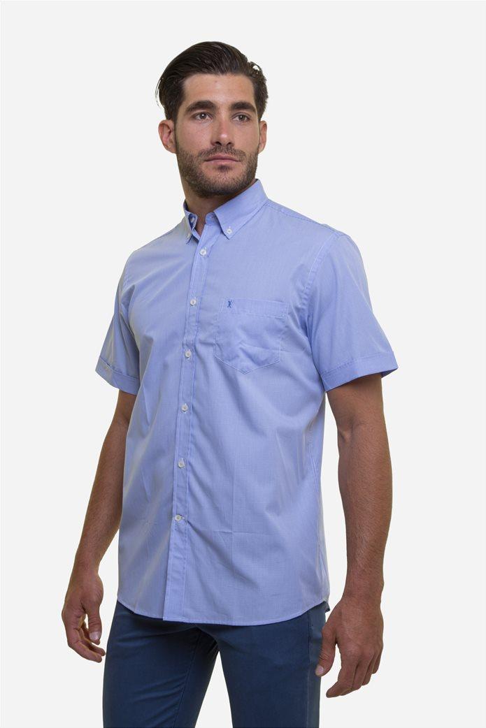 The Bostonians ανδρικό κοντομάνικο πουκάμισο με καρό μικροσχέδιο 1