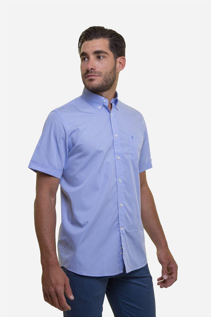 The Bostonians ανδρικό κοντομάνικο πουκάμισο με καρό μικροσχέδιο 2