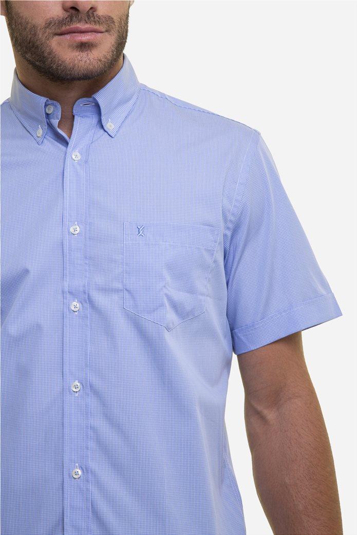 The Bostonians ανδρικό κοντομάνικο πουκάμισο με καρό μικροσχέδιο 3