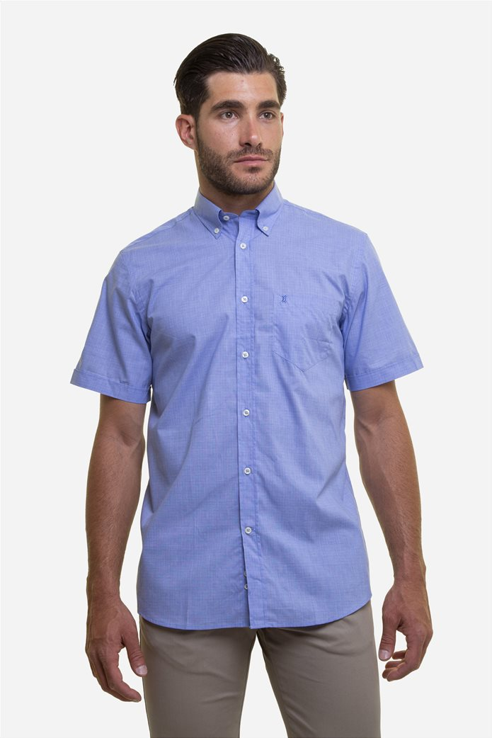 The Bostonians ανδρικό κοντομάνικο πουκάμισο με ton-sur-ton καρό σχέδιο 0