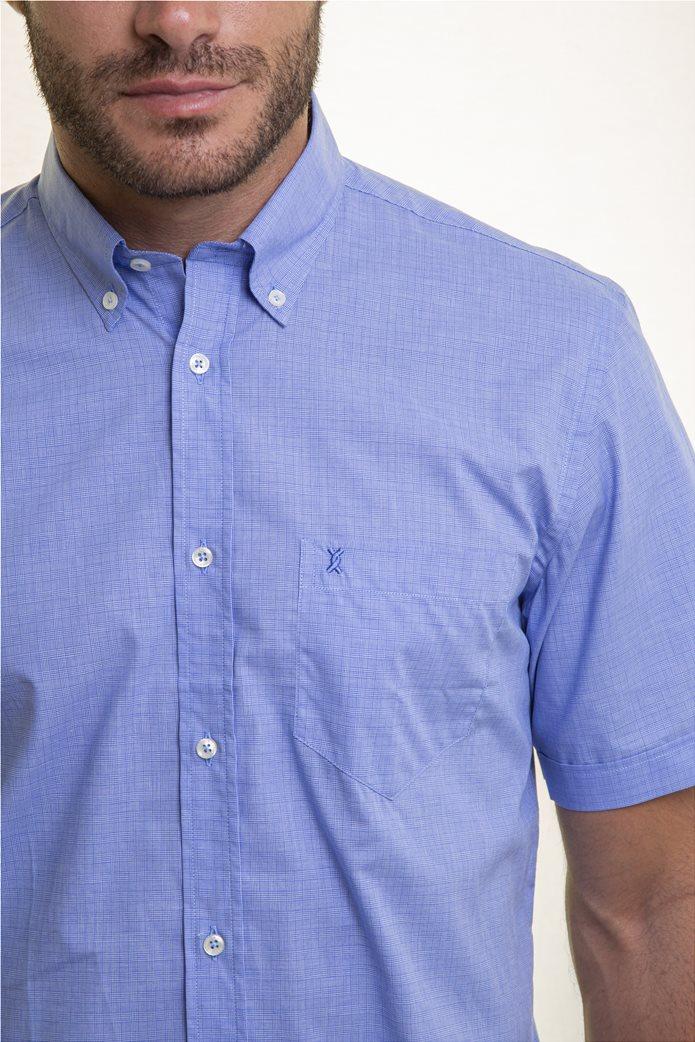 The Bostonians ανδρικό κοντομάνικο πουκάμισο με ton-sur-ton καρό σχέδιο 1