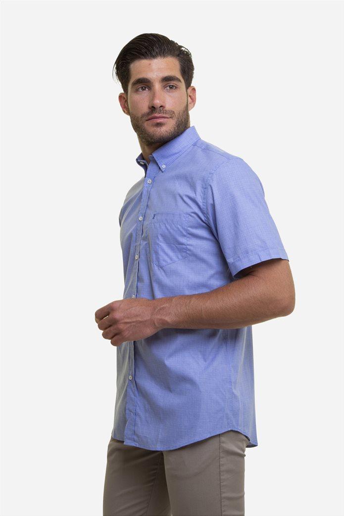 The Bostonians ανδρικό κοντομάνικο πουκάμισο με ton-sur-ton καρό σχέδιο 2