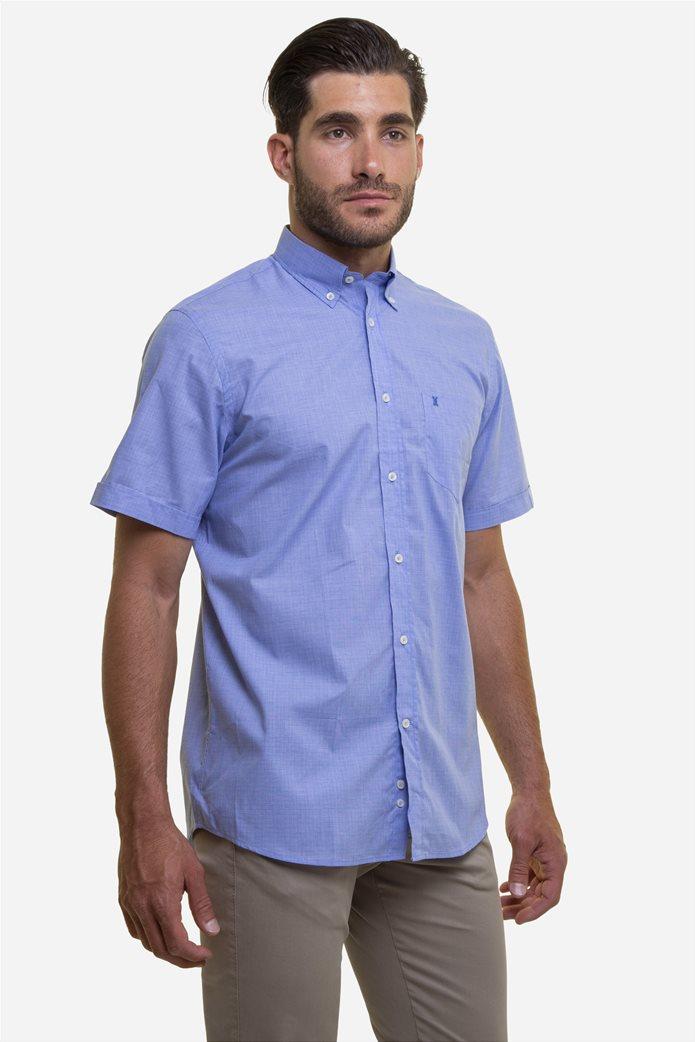 The Bostonians ανδρικό κοντομάνικο πουκάμισο με ton-sur-ton καρό σχέδιο 3