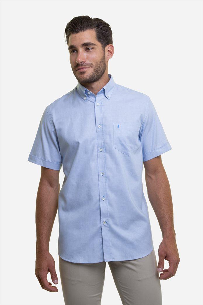 The Bostonians ανδρικό κοντομάνικο πουκάμισο με καρό μικροσχέδιο και κεντημένο logo 0