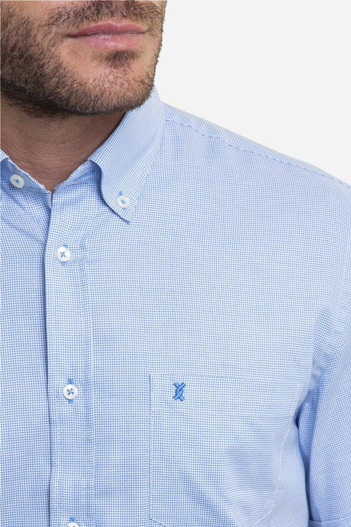The Bostonians ανδρικό κοντομάνικο πουκάμισο με καρό μικροσχέδιο και κεντημένο logo 1