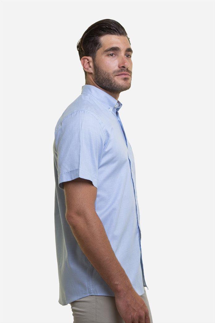 The Bostonians ανδρικό κοντομάνικο πουκάμισο με καρό μικροσχέδιο και κεντημένο logo 2