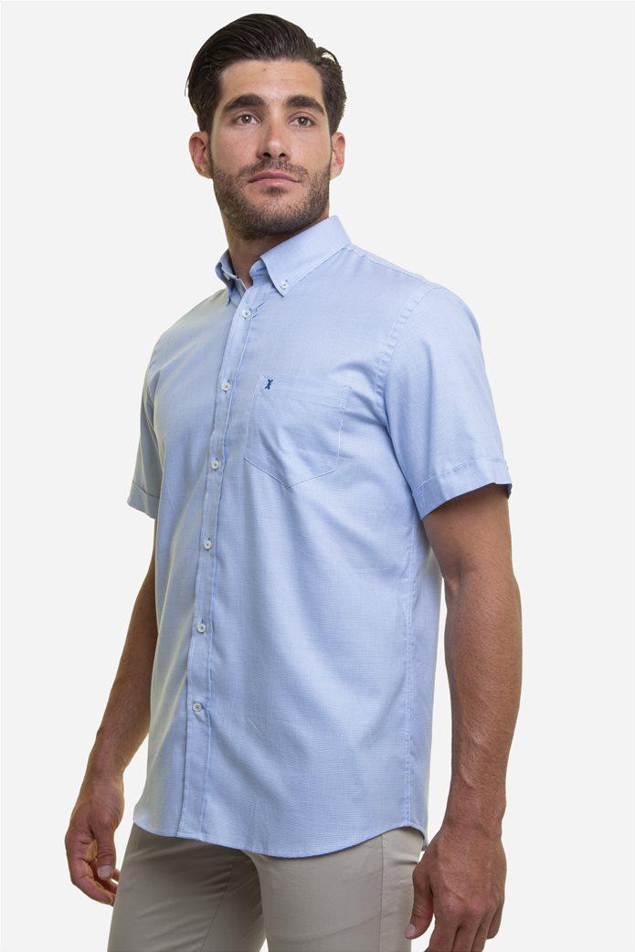 The Bostonians ανδρικό κοντομάνικο πουκάμισο με καρό μικροσχέδιο και κεντημένο logo 3