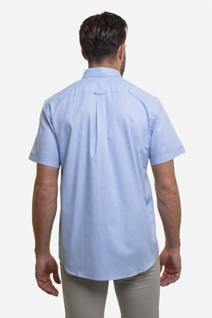 The Bostonians ανδρικό κοντομάνικο πουκάμισο με καρό μικροσχέδιο και κεντημένο logo 4
