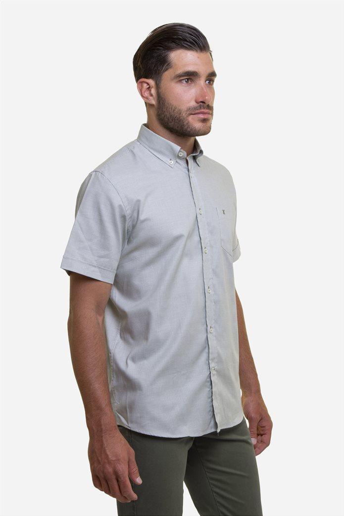 The Bostonians ανδρικό κοντομάνικο πουκάμισο με καρό μικροσχέδιο και κεντημένο logo Γκρι 2
