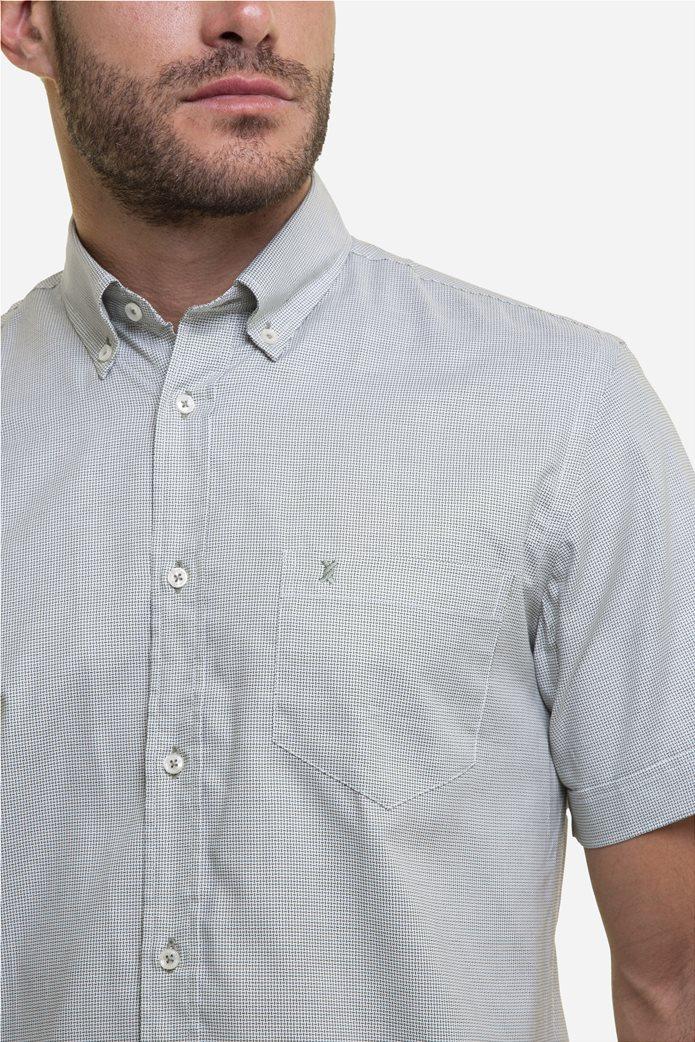 The Bostonians ανδρικό κοντομάνικο πουκάμισο με καρό μικροσχέδιο και κεντημένο logo Γκρι 3