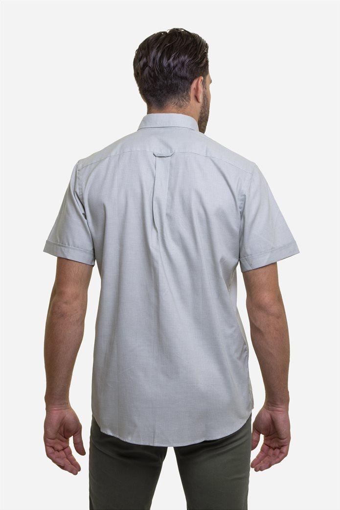The Bostonians ανδρικό κοντομάνικο πουκάμισο με καρό μικροσχέδιο και κεντημένο logo Γκρι 4