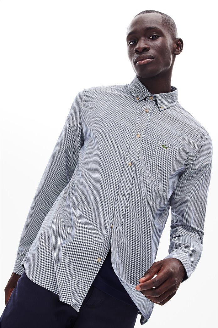 Lacoste ανδρικό καρό πουκάμισο με μία τσέπη 0