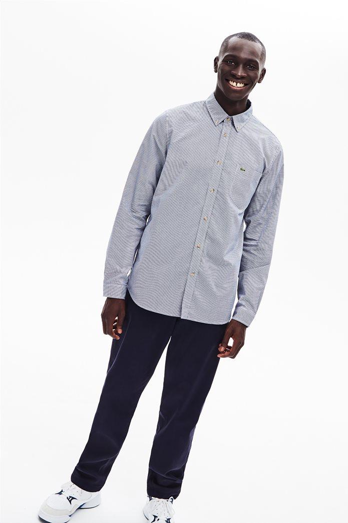 Lacoste ανδρικό καρό πουκάμισο με μία τσέπη 1