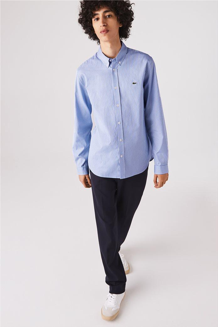 Lacoste ανδρικό πουκάμισο με μικρό καρό Regular Fit Γαλάζιο 0