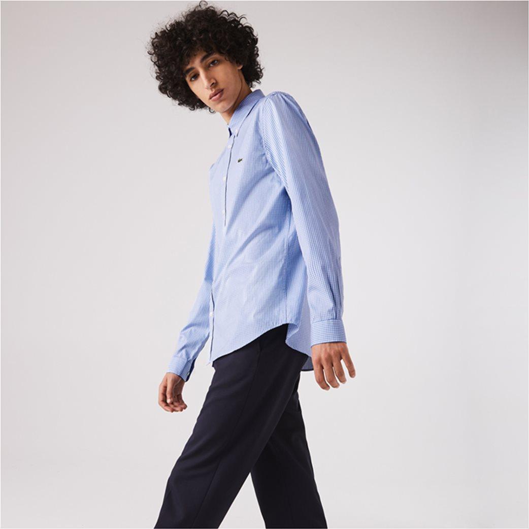 Lacoste ανδρικό πουκάμισο με μικρό καρό Regular Fit Γαλάζιο 1
