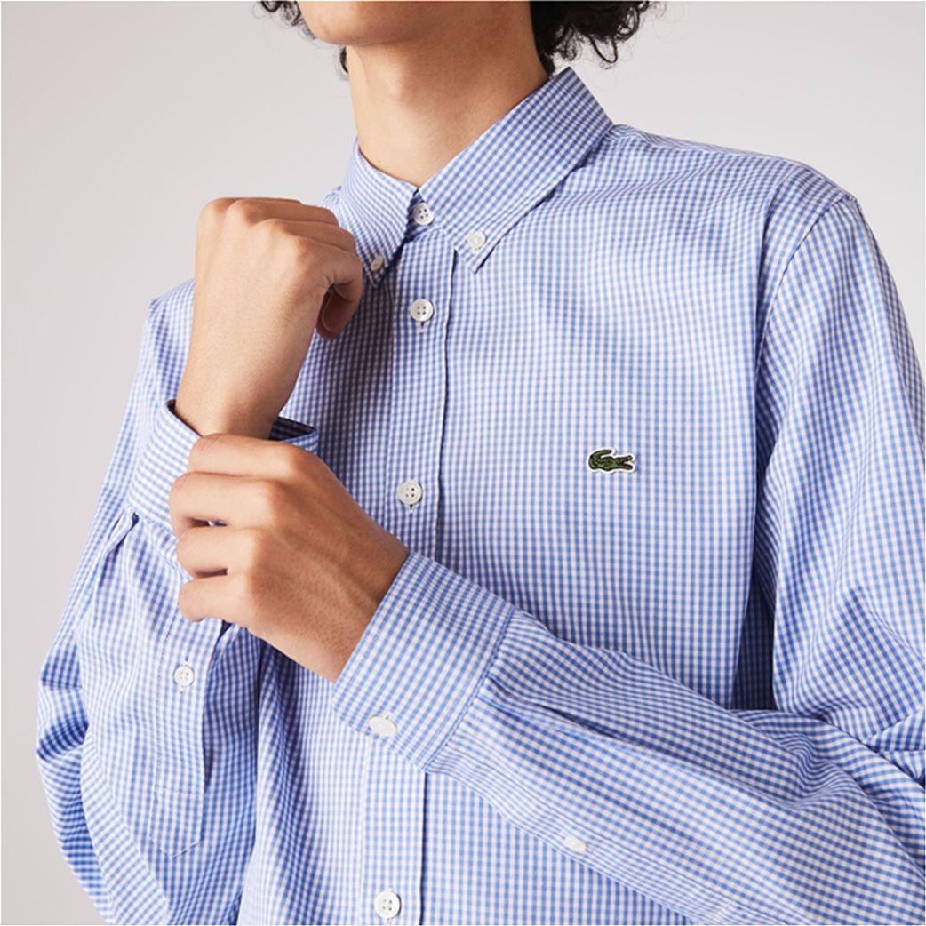 Lacoste ανδρικό πουκάμισο με μικρό καρό Regular Fit Γαλάζιο 3
