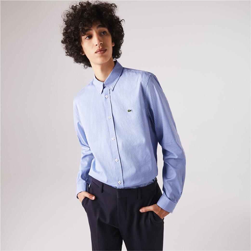 Lacoste ανδρικό πουκάμισο με μικρό καρό Regular Fit Γαλάζιο 4