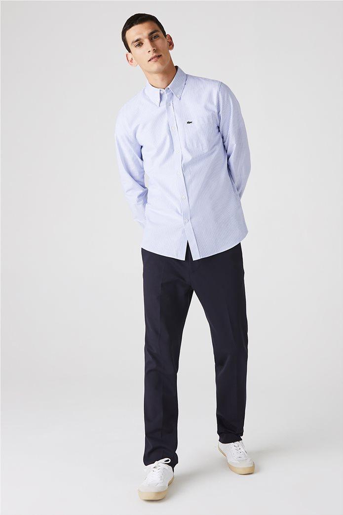 Lacoste ανδρικό πουκάμισο με ριγέ print Regular Fit Ανοιχτό Γαλάζιο 0