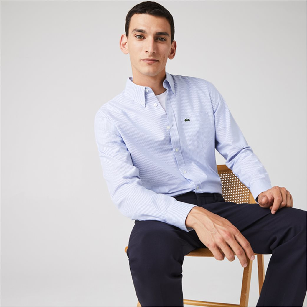 Lacoste ανδρικό πουκάμισο με ριγέ print Regular Fit Ανοιχτό Γαλάζιο 1